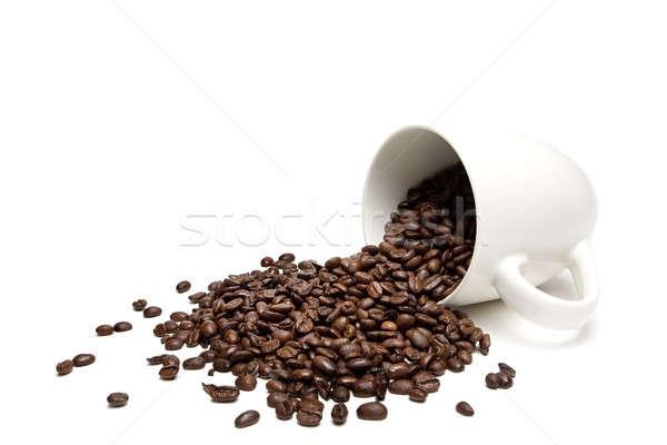 Kahve çekirdekleri yalıtılmış beyaz fasulye bütün Stok fotoğraf © alptraum