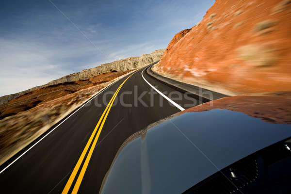 car driving on road with motion blur Stock photo © alptraum