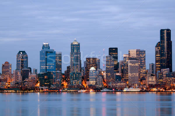 Seattle Washington schemering USA gebouwen Stockfoto © alptraum