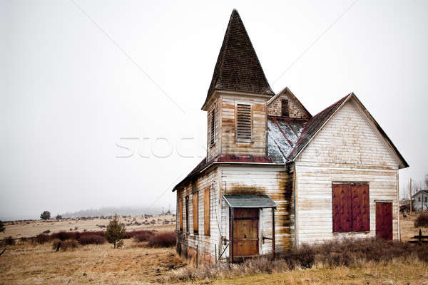 Abandonné rural église Oregon herbe bois Photo stock © alptraum