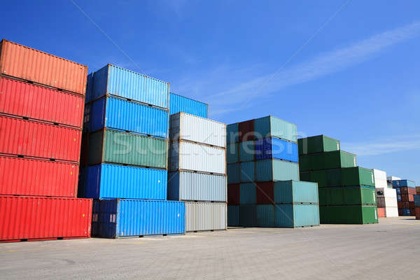 cargo freight containers stack in harbor Stock photo © alptraum
