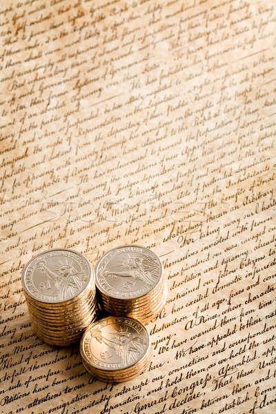 Dollár érme nyilatkozat érmék új egymásra pakolva Stock fotó © alptraum