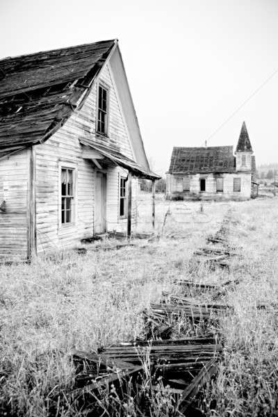 abandoned house and church Stock photo © alptraum