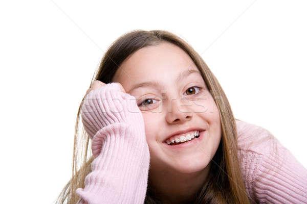 Sorridere ragazza isolato bianco giovane ragazza felice Foto d'archivio © alptraum