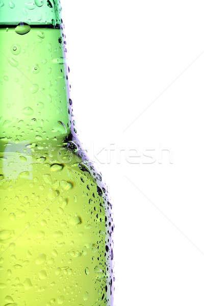 Sörösüveg közelkép izolált fehér zöld üveg Stock fotó © alptraum
