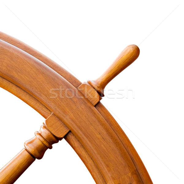 Schip stuur geïsoleerd witte hoek Stockfoto © alptraum