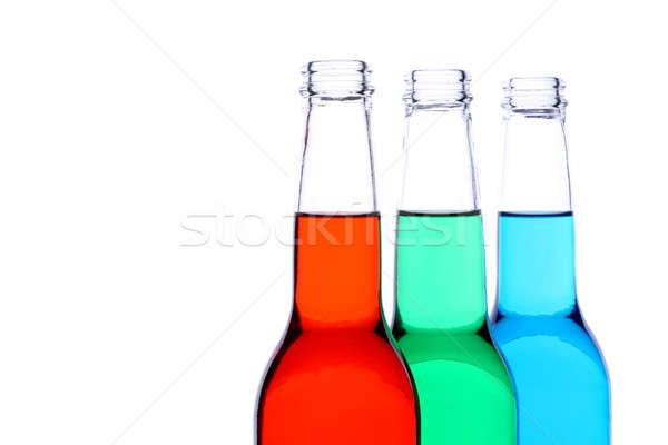Butelek czerwony zielone niebieski odizolowany płynnych Zdjęcia stock © alptraum