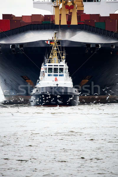 tugboat pulling freighter Stock photo © alptraum