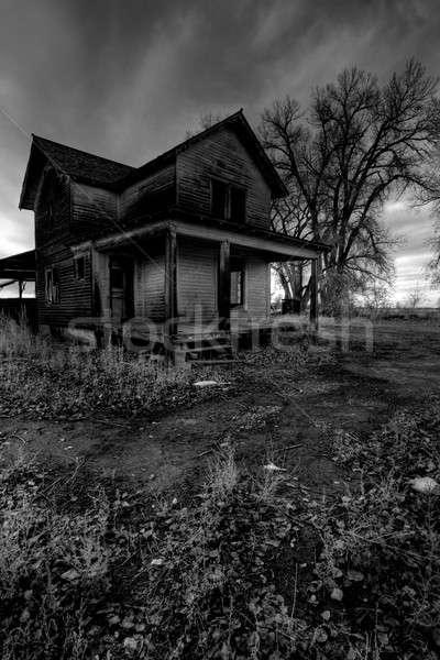 Nawiedzony domu wiejski Wyoming hdr ciemne Zdjęcia stock © alptraum