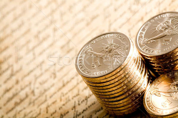 Dollár dollár érmék új nyilatkozat mélységélesség Stock fotó © alptraum
