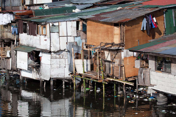 Poverty - squatter homes in Philippines Stock photo © alptraum