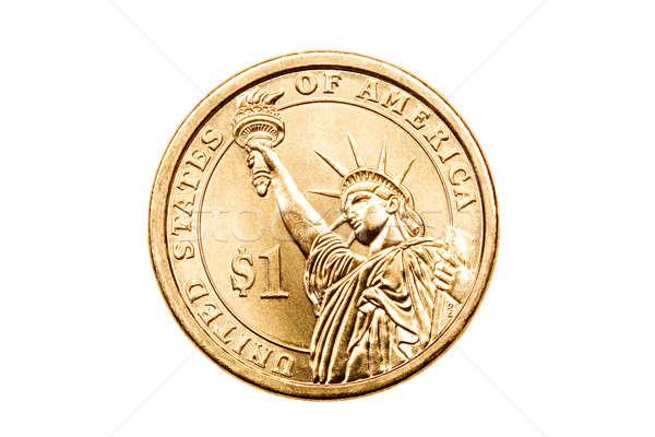 Dollár érme izolált fehér pénz szobor Stock fotó © alptraum