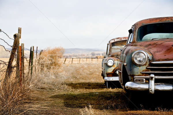 Photo stock: Vintage · voitures · abandonné · loin · rural · Wyoming