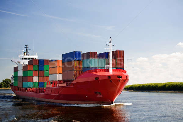 Fracht Containerschiff Fluss Business Himmel Industrie Stock foto © alptraum