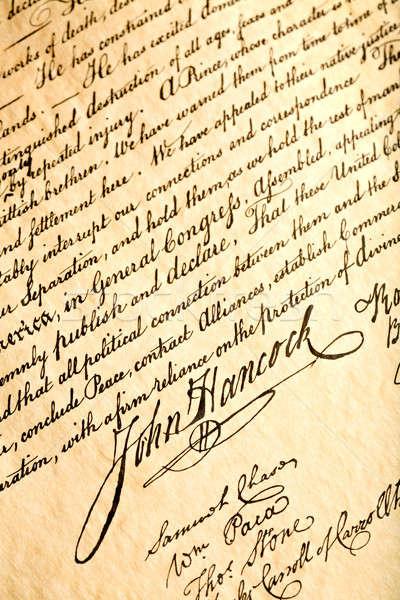 Nyilatkozat aláírás Egyesült Államok felirat ír szabadság Stock fotó © alptraum