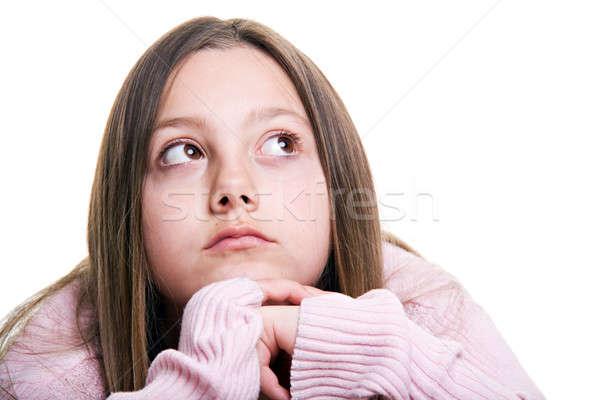 Młoda dziewczyna odizolowany dość coś Zdjęcia stock © alptraum
