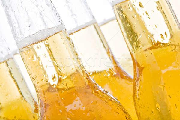 ストックフォト: ビール · ボトル · 抽象的な · ぬれた · 白