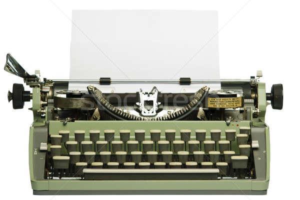 Retro máquina de escribir papel en blanco aislado blanco oficina Foto stock © Alsos