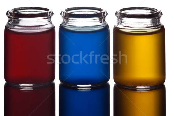 Colorido líquido tres gafas aislado blanco Foto stock © Alsos