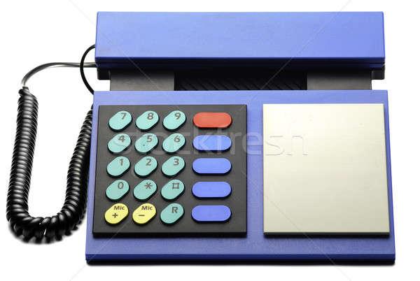 Azul teléfono retro aislado blanco Foto stock © Alsos