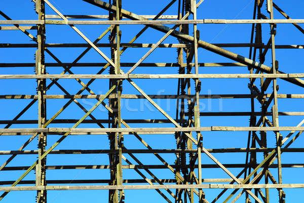 wooden framework against blue sky Stock photo © Alsos