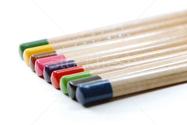Color lápices primer plano aislado blanco fondo Foto stock © Alsos