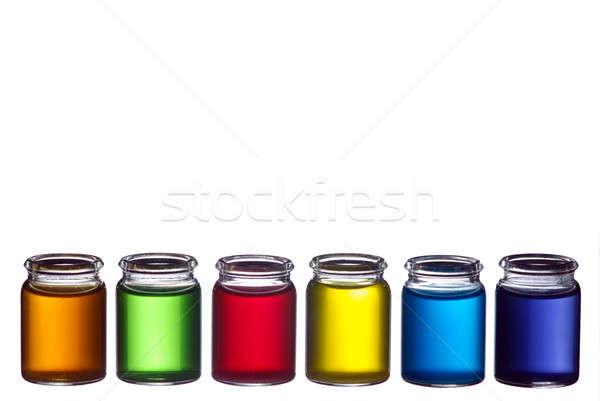 Színes vonal szemüveg folyadék izolált fehér Stock fotó © Alsos