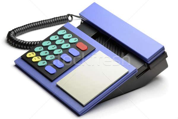 Azul teléfono retro aislado blanco comunicación Foto stock © Alsos