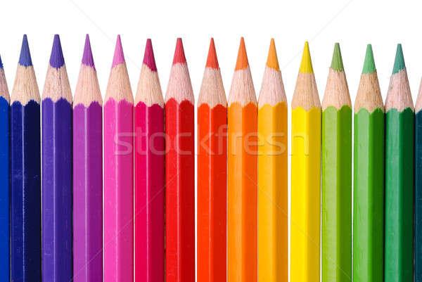 Color lápices aislado blanco madera ninos Foto stock © Alsos