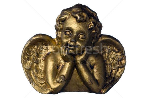 Dorado ángel pequeño oro aislado blanco Foto stock © Alsos