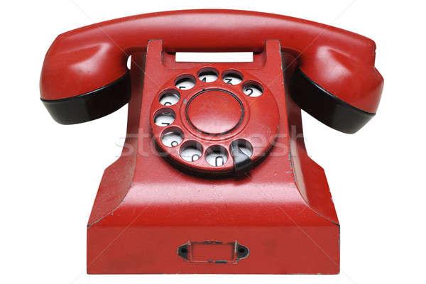 Rojo retro teléfono aislado blanco Foto stock © Alsos