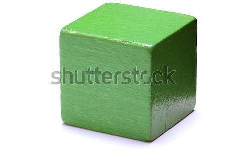 Verde cubo aislado blanco cuadro construir Foto stock © Alsos