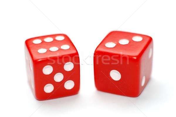 Dados dos rojo aislado blanco póquer Foto stock © Alsos