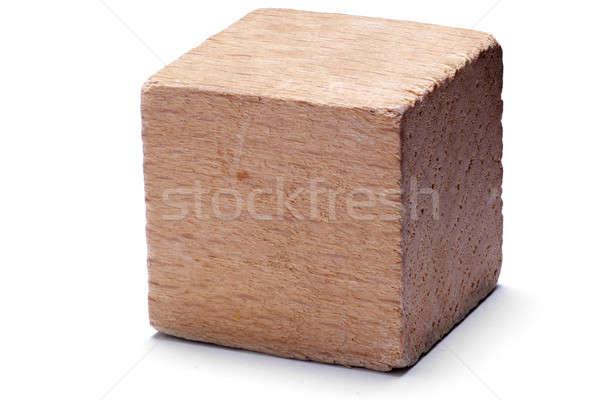 Holz Würfel isoliert weiß Feld spielen Stock foto © Alsos