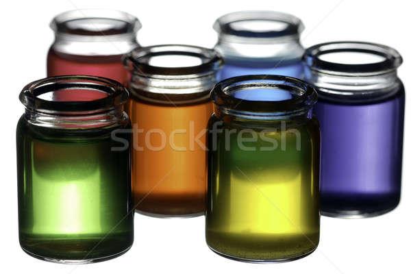 Colorido gafas grupo líquido aislado blanco Foto stock © Alsos