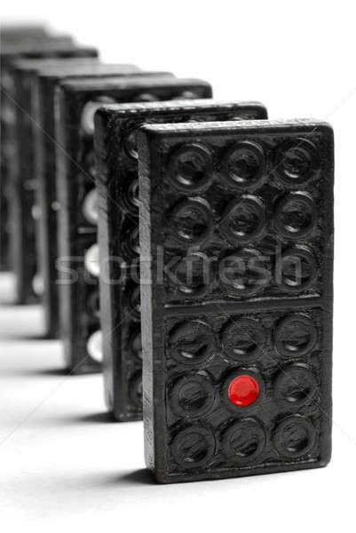Dominó línea bloques aislado blanco Foto stock © Alsos