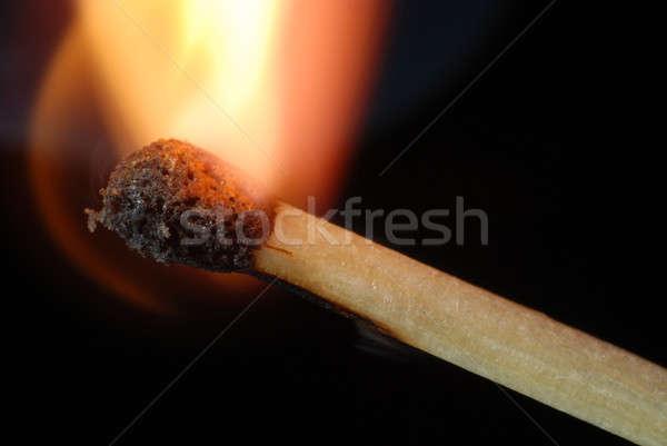 Meczu odizolowany czarny ognia dymu Zdjęcia stock © Alsos