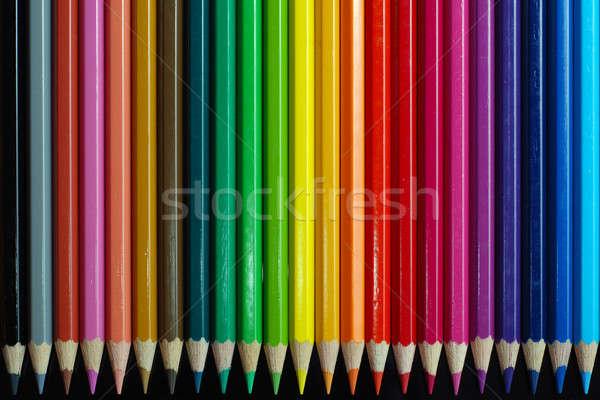 Color lápices negro madera ninos diseno Foto stock © Alsos