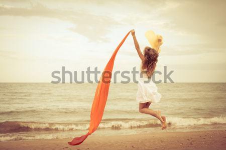 ストックフォト: 幸せ · 男 · ジャンプ · ビーチ · 日 · 時間