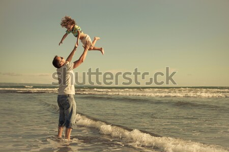 портрет мало мальчика Постоянный пляж день Сток-фото © altanaka
