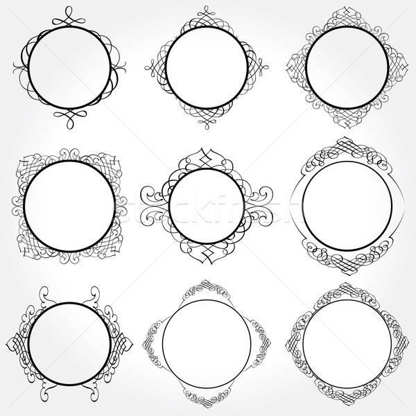 ベクトル フレーム セット ヴィンテージ 装飾 ストックフォト © alvaroc