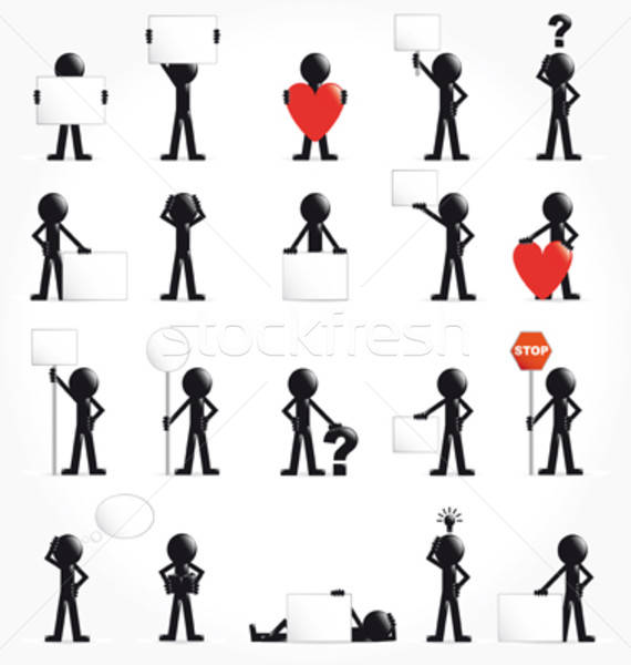 Set of 3d man with arrow and symbols (concept) VECTOR ILLUSTRATION Stock photo © alvaroc