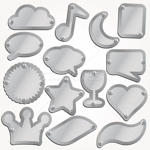 Vektor fém tányérok szett fémes felirat Stock fotó © alvaroc