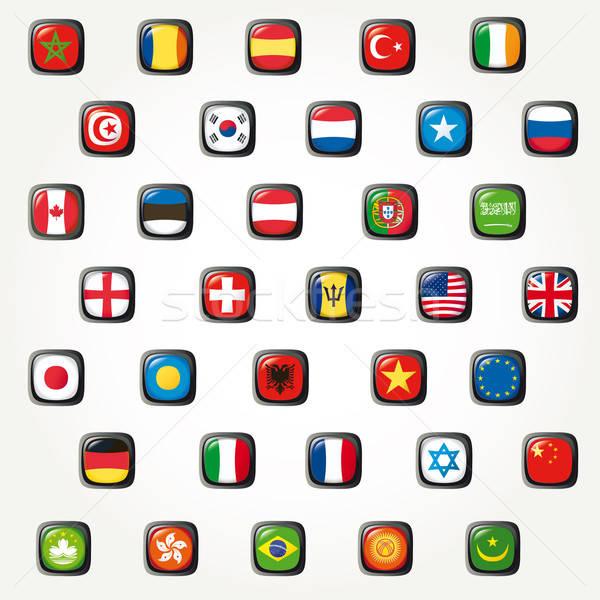 Szett világ zászlók vektor gomb kínai Stock fotó © alvaroc