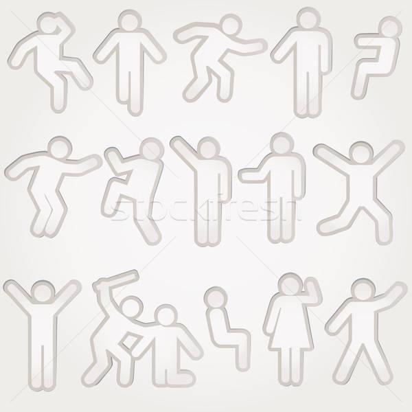 Vektor piktogramok férfiak nők felirat lábak Stock fotó © alvaroc