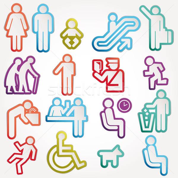 Ikonok felirat szimbólum piktogram férfi nők Stock fotó © alvaroc