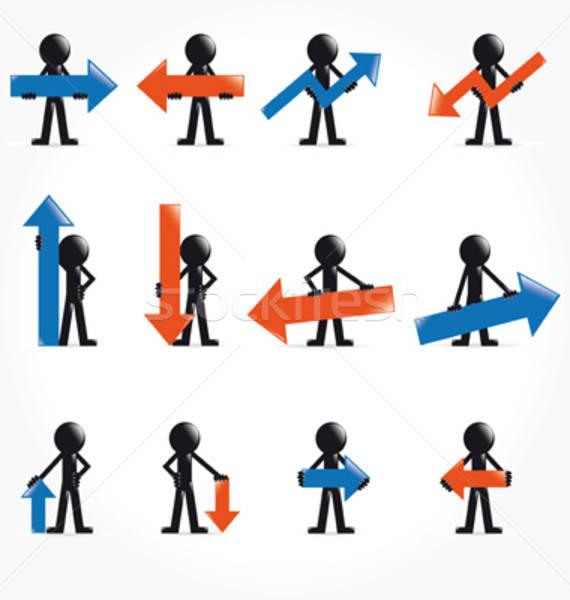 Szett 3d ember nyíl szimbólumok boldog háttér Stock fotó © alvaroc