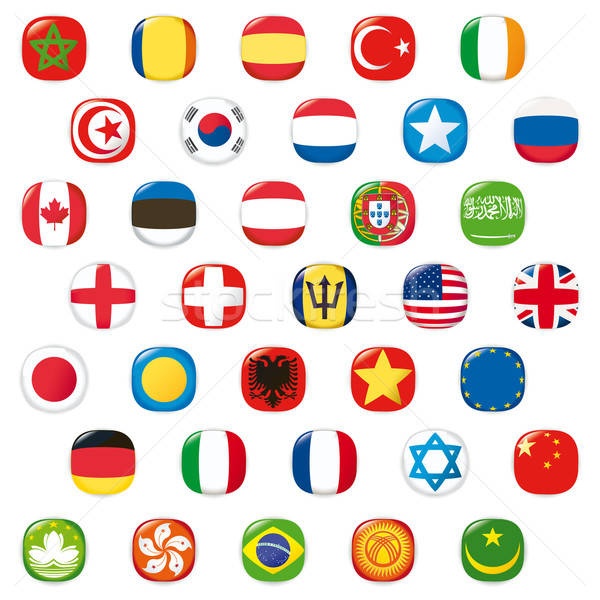 Set of world flags. Vector button Stock photo © alvaroc