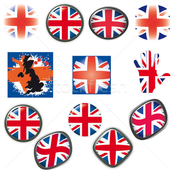 British Flag symbols icons Buttons vector illustration UK Stock photo © alvaroc