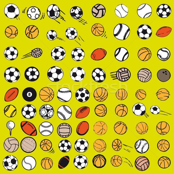 Szett labda sportok ikonok szimbólumok képregény Stock fotó © alvaroc